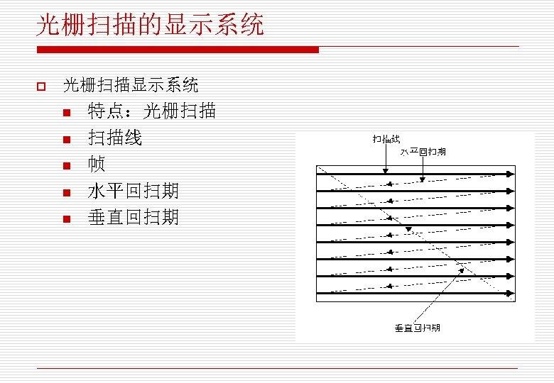 光栅扫描的显示系统 o 光栅扫描显示系统 n n n 特点:光栅扫描 扫描线 帧 水平回扫期 垂直回扫期