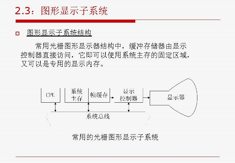 2. 3:图形显示子系统 o 图形显示子系统结构 常用光栅图形显示器结构中,缓冲存储器由显示 控制器直接访问,它即可以使用系统主存的固定区域, 又可以是专用的显示内存。 常用的光栅图形显示子系统