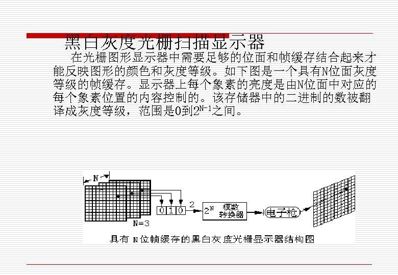 黑白灰度光栅扫描显示器 在光栅图形显示器中需要足够的位面和帧缓存结合起来才 能反映图形的颜色和灰度等级。如下图是一个具有N位面灰度 等级的帧缓存。显示器上每个象素的亮度是由N位面中对应的 每个象素位置的内容控制的。该存储器中的二进制的数被翻 译成灰度等级,范围是 0到 2 N-1之间。