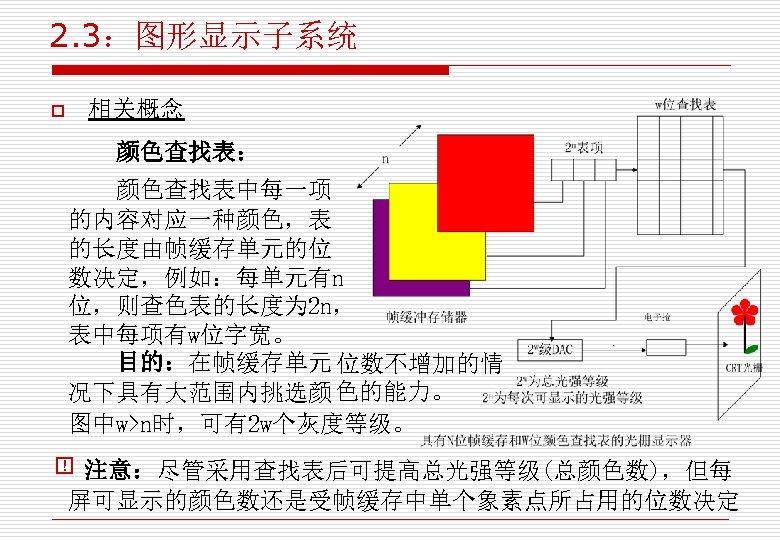 2. 3:图形显示子系统 o 相关概念 颜色查找表: 颜色查找表中每一项 的内容对应一种颜色,表 的长度由帧缓存单元的位 数决定,例如:每单元有n 位,则查色表的长度为 2 n, 表中每项有w位字宽。 目的:在帧缓存单元