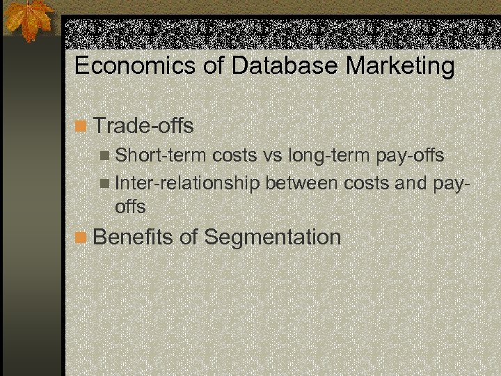 Economics of Database Marketing n Trade-offs n Short-term costs vs long-term pay-offs n Inter-relationship