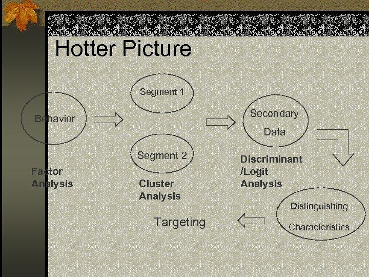 Hotter Picture Segment 1 Secondary Behavior Data Segment 2 Factor Analysis Cluster Analysis Targeting