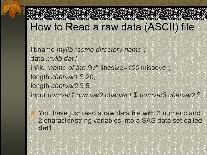 """How to Read a raw data (ASCII) file libname mylib """"some directory name""""; data"""