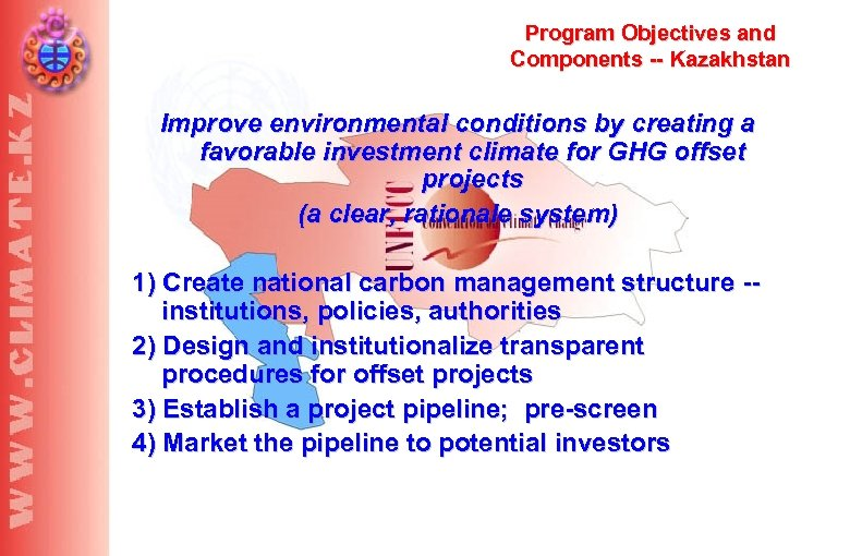 Program Objectives and Components -- Kazakhstan Improve environmental conditions by creating a favorable investment