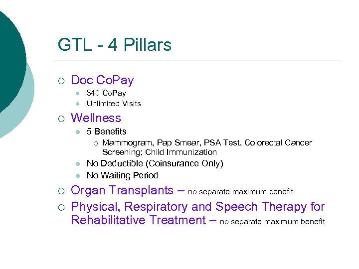 GTL - 4 Pillars ¡ Doc Co. Pay l l ¡ $40 Co. Pay