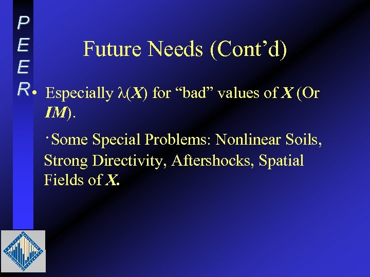 """P E Future Needs (Cont'd) E R • Especially λ(X) for """"bad"""" values of"""