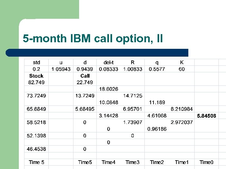 5 -month IBM call option, II