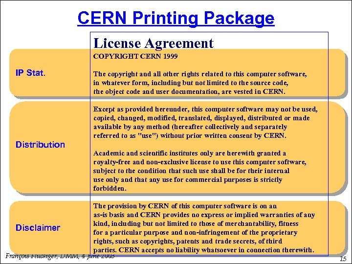 CERN Printing Package License Agreement COPYRIGHT CERN 1999 IP Stat. The copyright and all