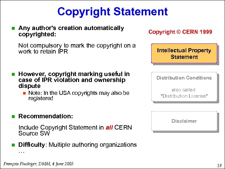 Copyright Statement n Any author's creation automatically copyrighted: Not compulsory to mark the copyright