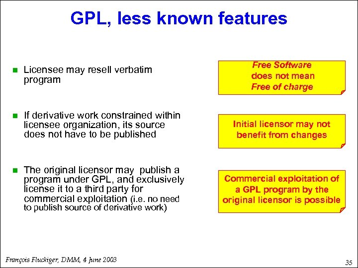 GPL, less known features Free Software does not mean Free of charge n Licensee