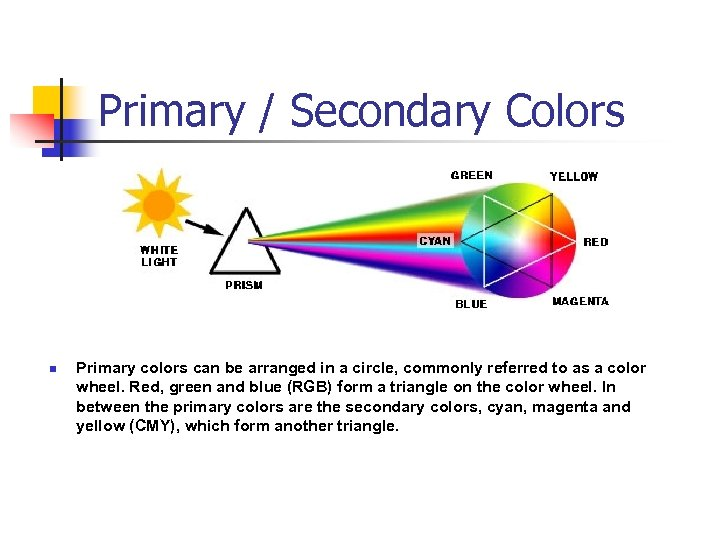 Primary / Secondary Colors n Primary colors can be arranged in a circle, commonly