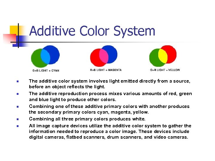 Additive Color System n n n The additive color system involves light emitted directly