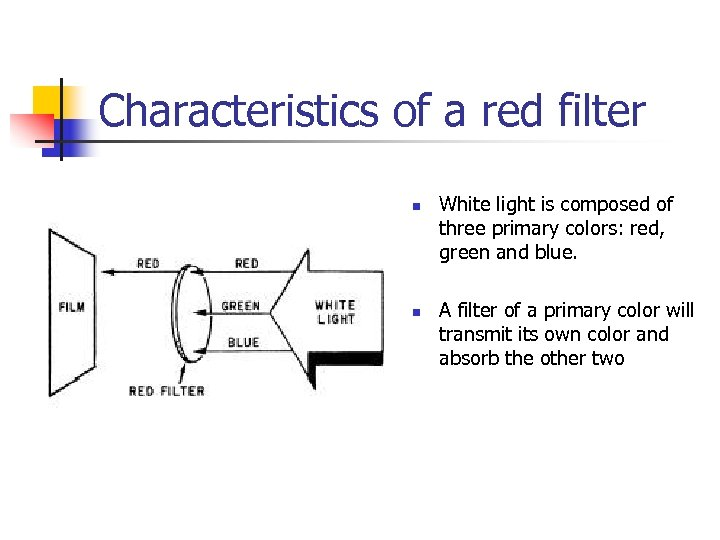 Characteristics of a red filter n n White light is composed of three primary