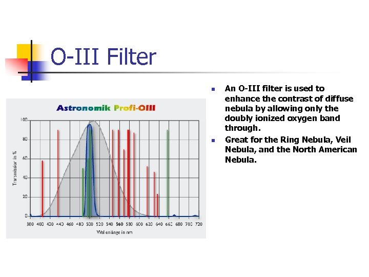 O-III Filter n n An O-III filter is used to enhance the contrast of