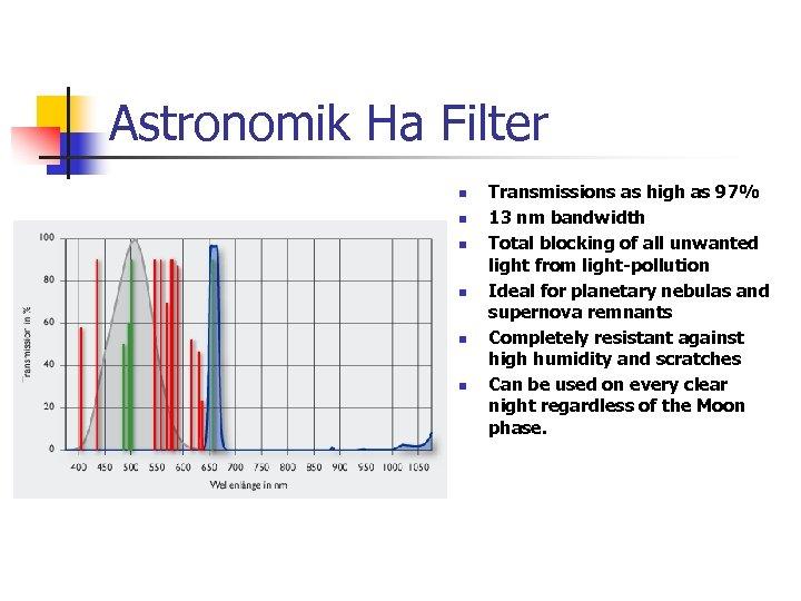 Astronomik Ha Filter n n n Transmissions as high as 97% 13 nm bandwidth