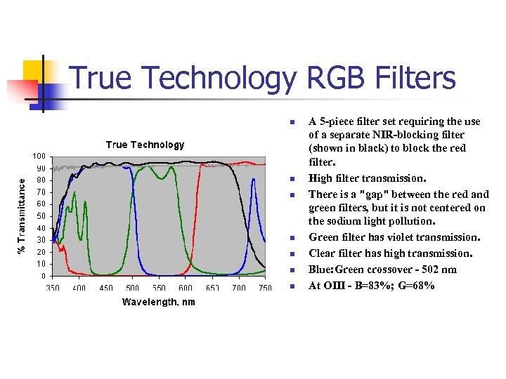 True Technology RGB Filters n n n n A 5 -piece filter set requiring