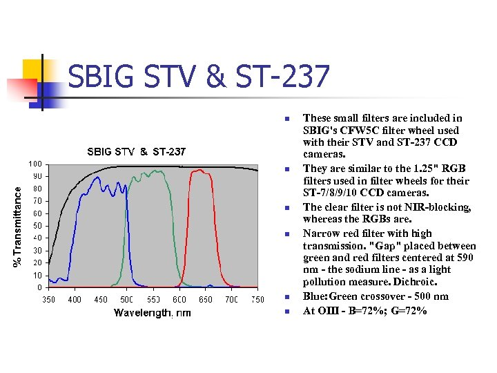 SBIG STV & ST-237 n n n These small filters are included in SBIG's