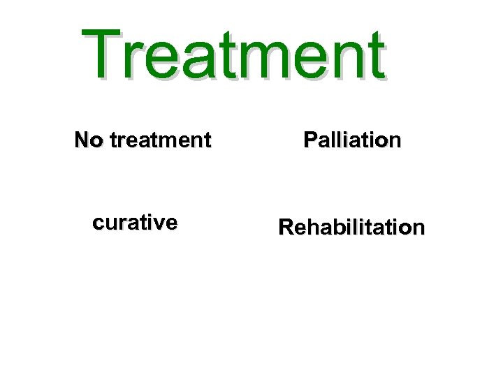 Treatment No treatment curative Palliation Rehabilitation