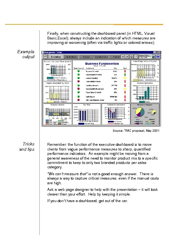 Finally, when constructing the dashboard panel (in HTML, Visual Basic, Excel), always include an