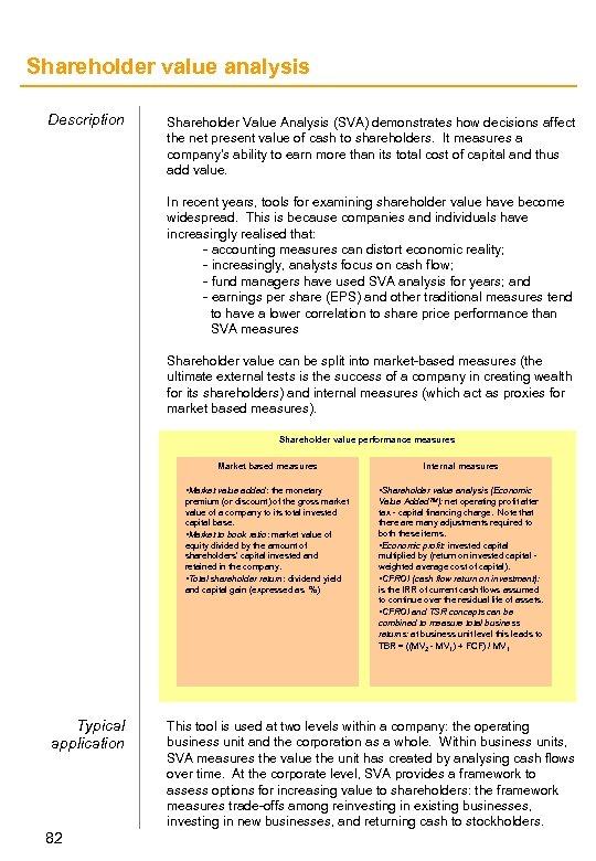 Shareholder value analysis Description Shareholder Value Analysis (SVA) demonstrates how decisions affect the net