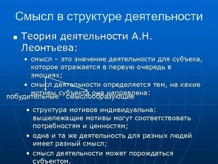 Смысл в структуре деятельности n Теория деятельности А. Н. Леонтьева: • смысл – это