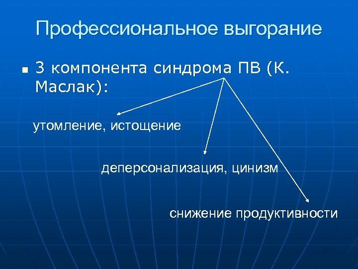 Профессиональное выгорание n 3 компонента синдрома ПВ (К. Маслак): утомление, истощение деперсонализация, цинизм снижение