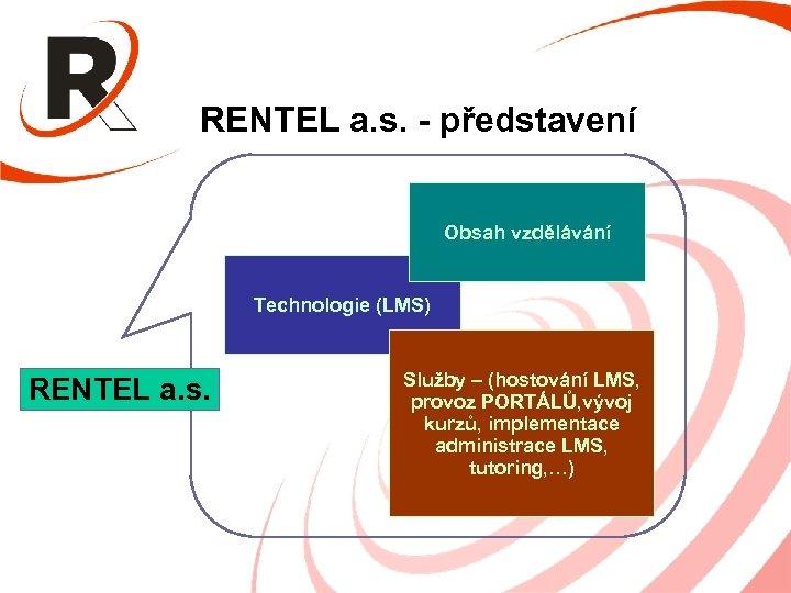 RENTEL a. s. - představení Obsah vzdělávání Technologie (LMS) RENTEL a. s. Služby –