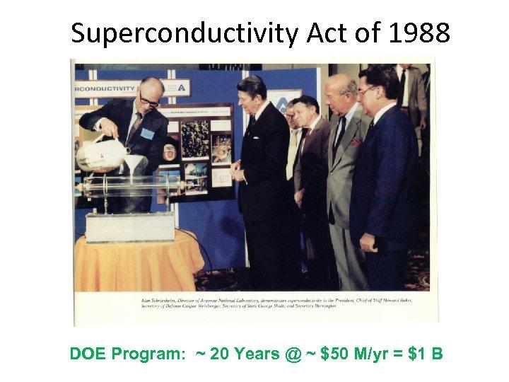 Superconductivity Act of 1988 DOE Program: ~ 20 Years @ ~ $50 M/yr =