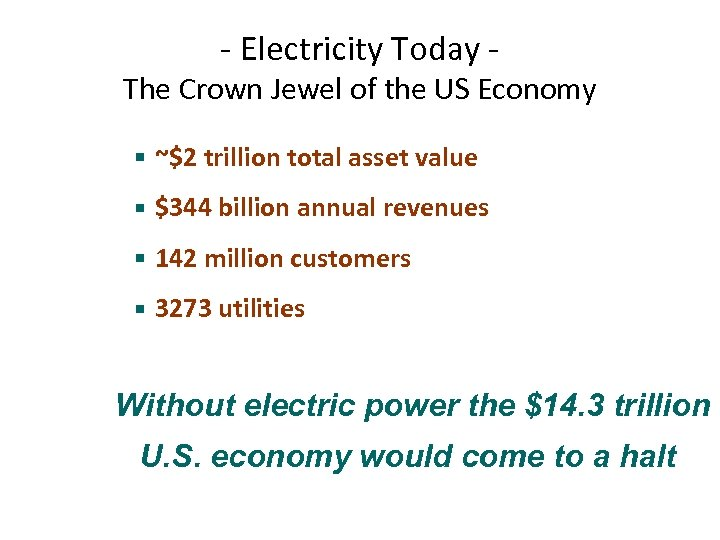 - Electricity Today - The Crown Jewel of the US Economy § ~$2 trillion