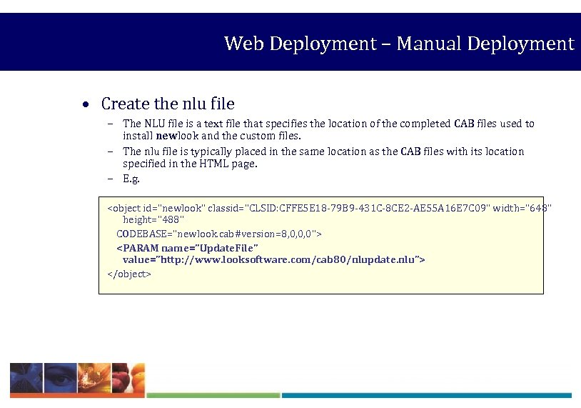 Web Deployment – Manual Deployment • Create the nlu file – The NLU file
