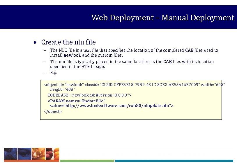 Web Deployment – Manual Deployment • Create the nlu file – The NLU file