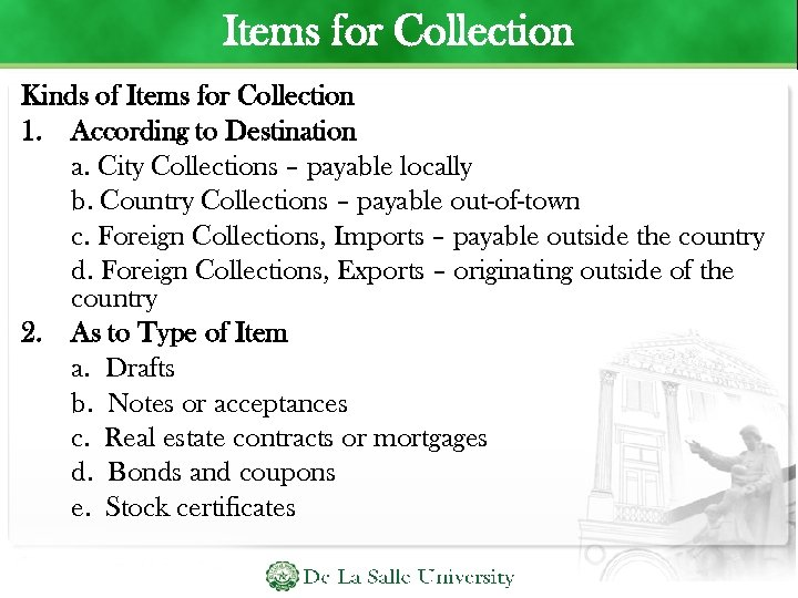 Items for Collection Kinds of Items for Collection 1. According to Destination a. City