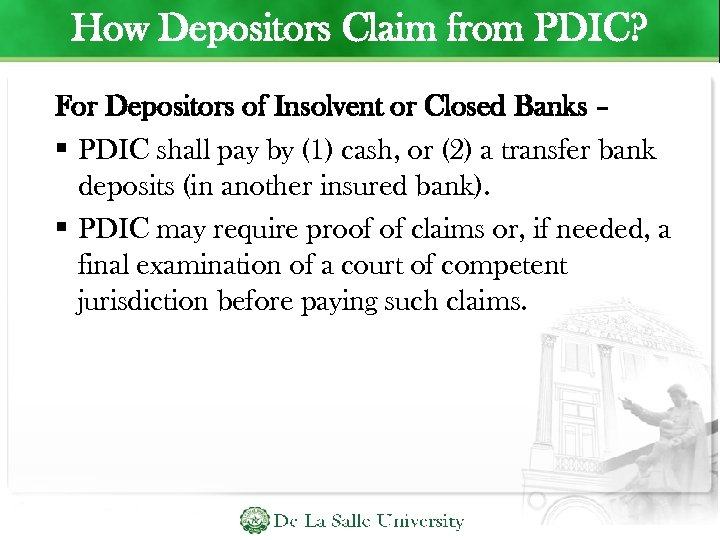 How Depositors Claim from PDIC? For Depositors of Insolvent or Closed Banks – PDIC