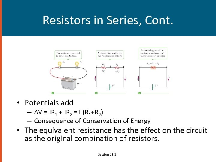 Resistors in Series, Cont. • Potentials add – ΔV = IR 1 + IR