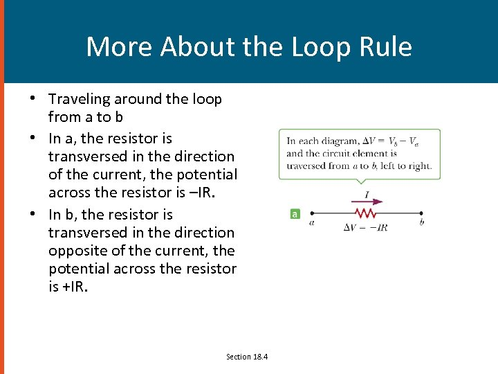 More About the Loop Rule • Traveling around the loop from a to b