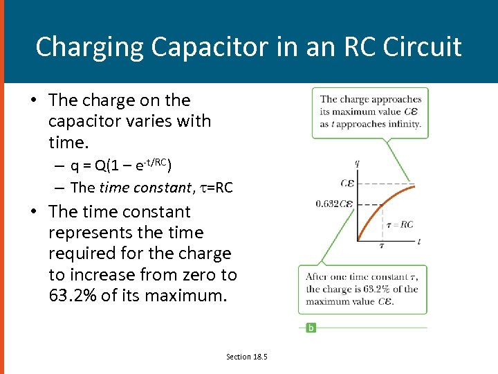Charging Capacitor in an RC Circuit • The charge on the capacitor varies with