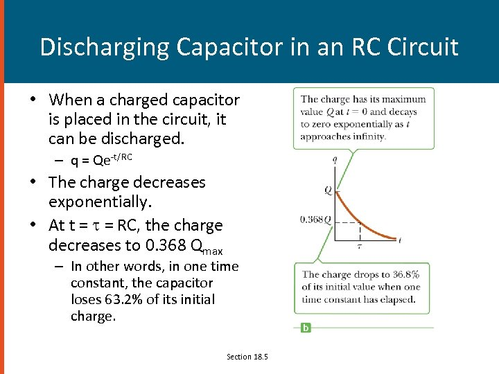 Discharging Capacitor in an RC Circuit • When a charged capacitor is placed in