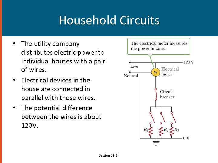 Household Circuits • The utility company distributes electric power to individual houses with a