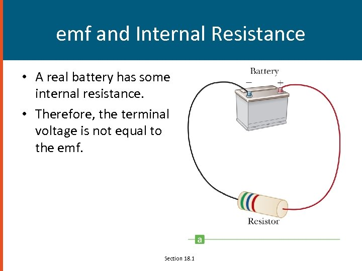 emf and Internal Resistance • A real battery has some internal resistance. • Therefore,