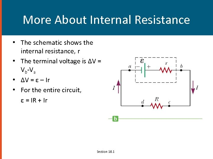 More About Internal Resistance • The schematic shows the internal resistance, r • The