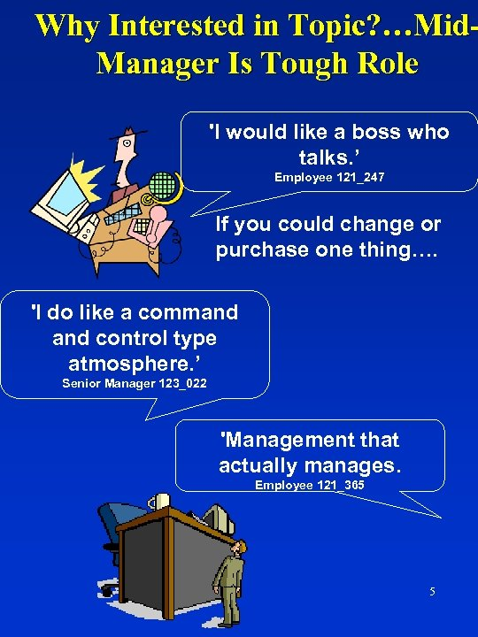 Why Interested in Topic? …Mid. Manager Is Tough Role 'I would like a boss