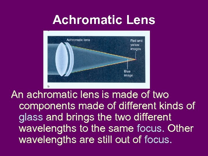 Achromatic Lens An achromatic lens is made of two components made of different kinds