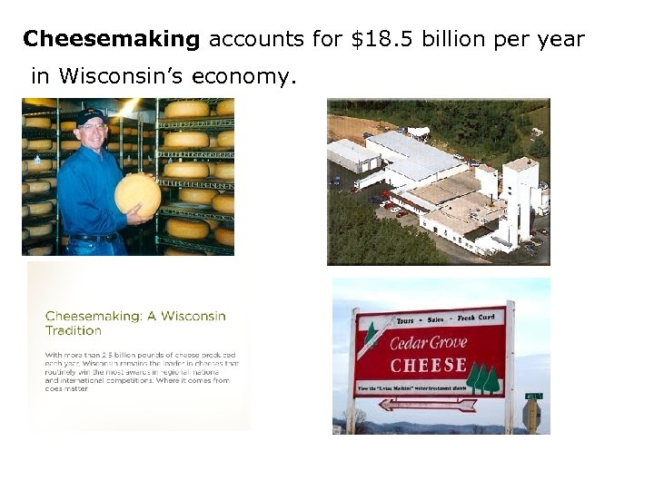 Cheesemaking accounts for $18. 5 billion per year in Wisconsin's economy.