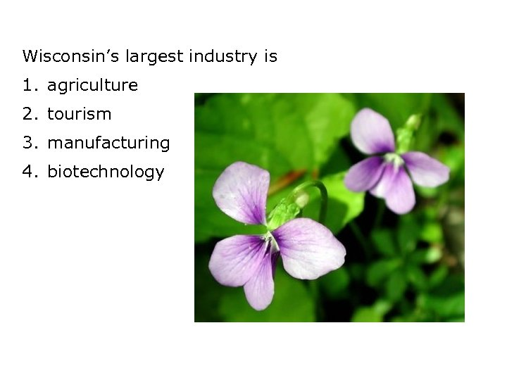 Wisconsin's largest industry is 1. agriculture 2. tourism 3. manufacturing 4. biotechnology