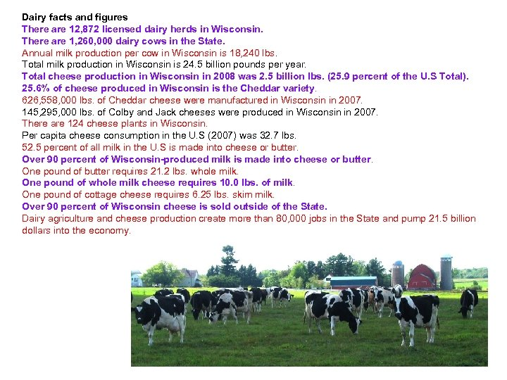 Dairy facts and figures There are 12, 872 licensed dairy herds in Wisconsin. There
