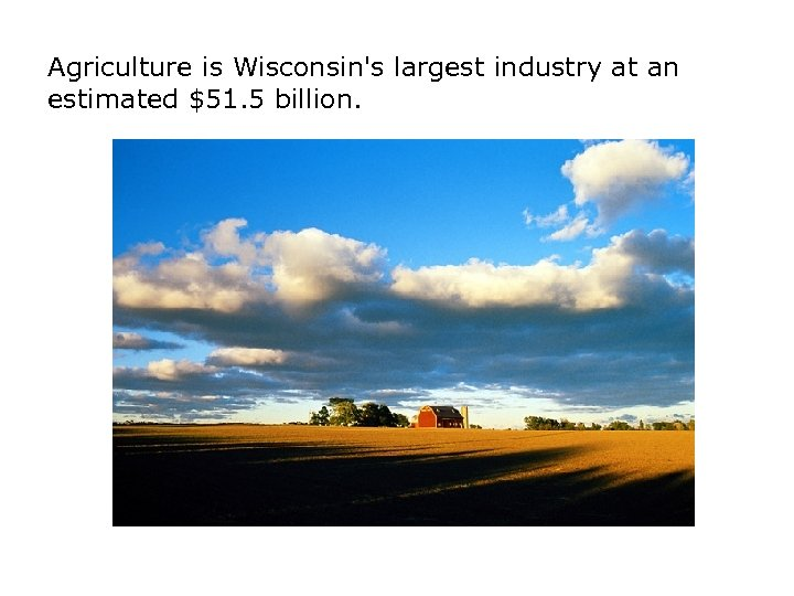 Agriculture is Wisconsin's largest industry at an estimated $51. 5 billion.