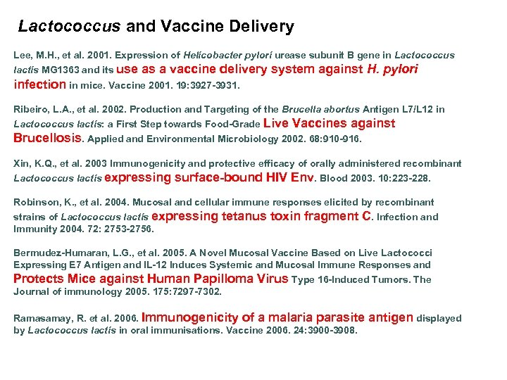 Lactococcus and Vaccine Delivery Lee, M. H. , et al. 2001. Expression of Helicobacter
