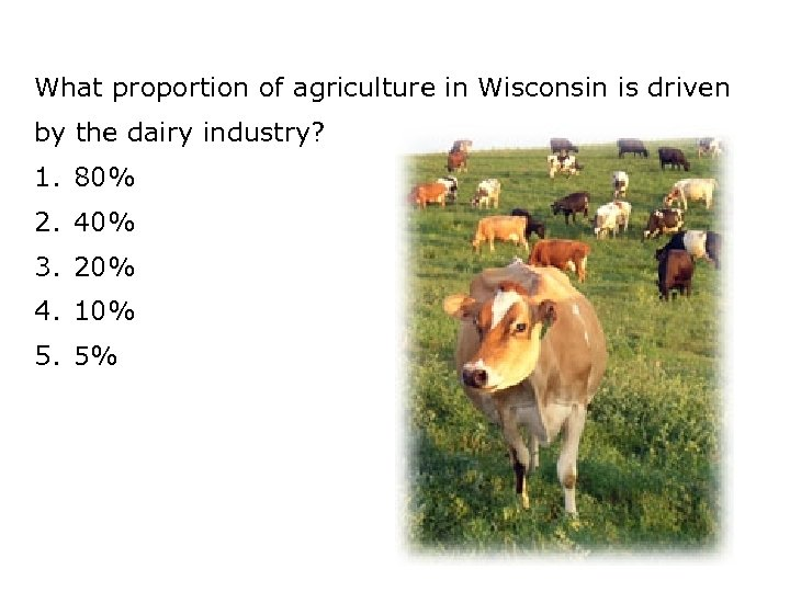 What proportion of agriculture in Wisconsin is driven by the dairy industry? 1. 80%