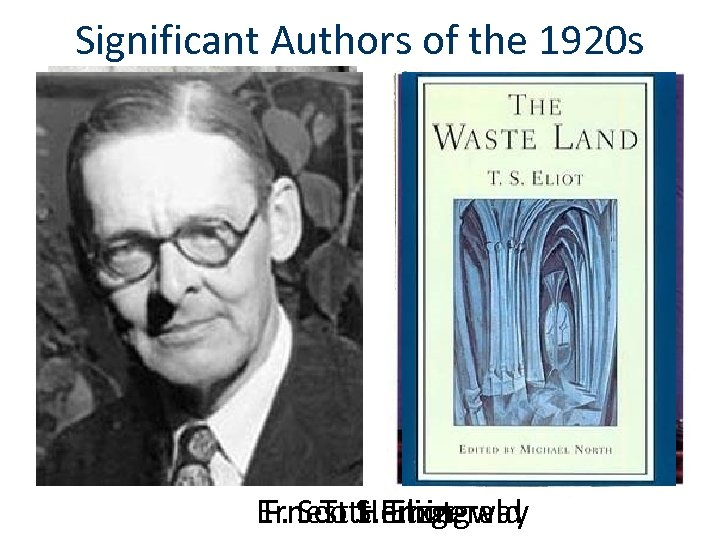 Significant Authors of the 1920 s Ernest S. Fitzgerald F. Scott Eliot T. Hemingway