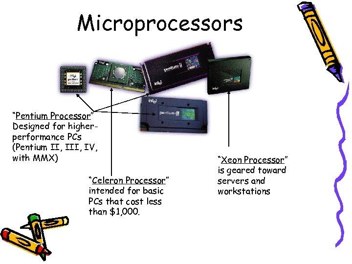 "Microprocessors ""Pentium Processor"" Designed for higherperformance PCs (Pentium II, IV, with MMX) ""Celeron Processor"""